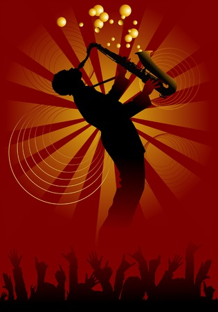pop musician: Man with saxophone on a red-yellow background;