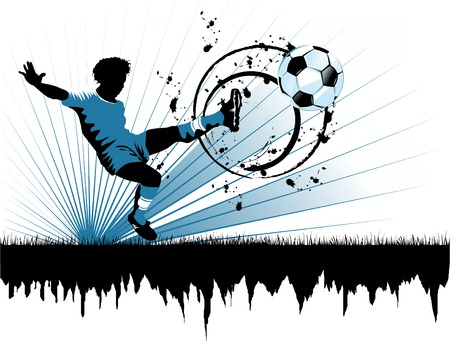 football player attack gate of the opponent (vector and illustration);  Stock Vector - 6764030