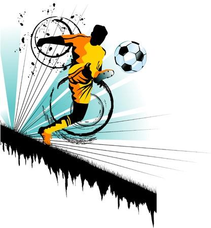 相手方のフットボール プレーヤー攻撃のゲート  イラスト・ベクター素材