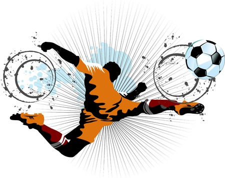 the opponent: football player attack gate of the opponent (vector and illustration);  Illustration