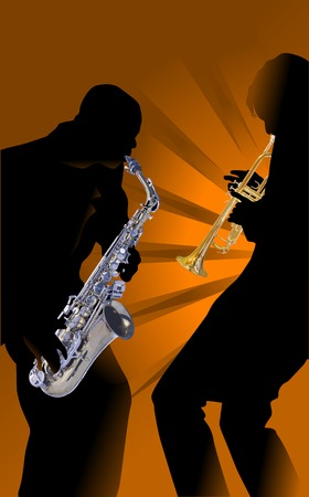 sax: Man's with saxophone on a red-yellow background;  Illustration