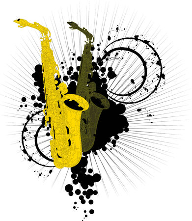 Two saxophone - yellow and green on a bright background;  Vector