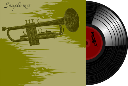 Cover of an old gramophone plastic with the image of a trumpert;  Vector