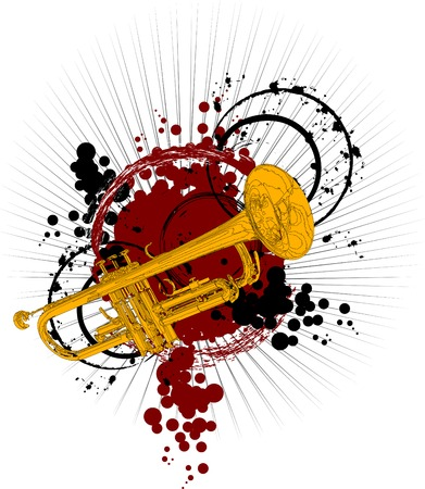 Trumpet gold - on a bright background red and black colors;
