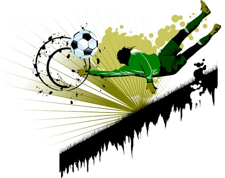 goal keeper: goalkeeper - de gevaarlijke moment gate (vector en illustratie);