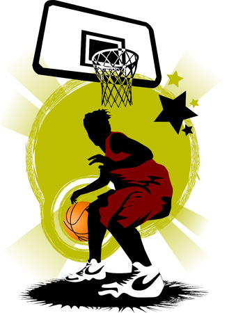 backboard: player in basketball at the background of basketball rings (vector);