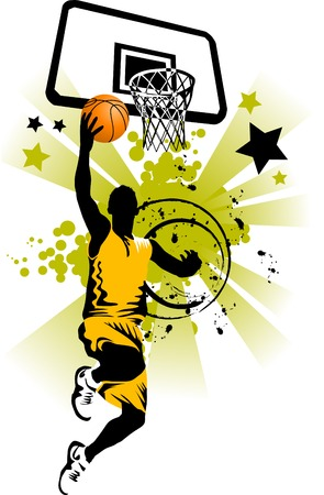 slam: player in basketball at the background of basketball rings