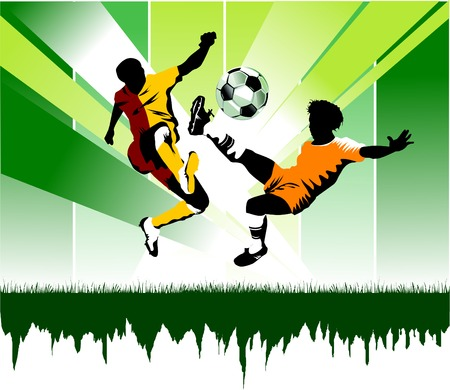 soccer player attack gate of the opponent;  Stock Vector - 6872143