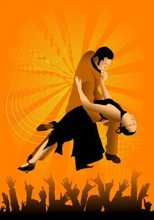 theatrical dance: The man and the woman dance a tango.
