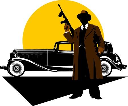 hooligan: Schwarz retro-Car auf ? Hintergrund der yellow Moon;