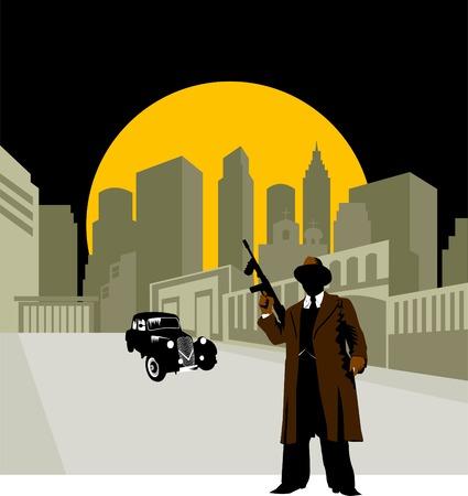 gangster with gun: Auto retro negra sobre fondo ? de Luna amarilla;  Vectores