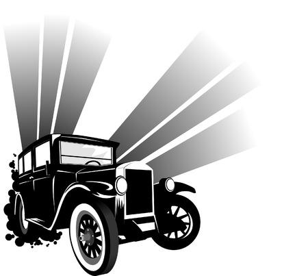 tommy: Black retro car on à background (vector and illustration);  Illustration
