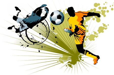 football kick: soccer player attack gate of the opponent;