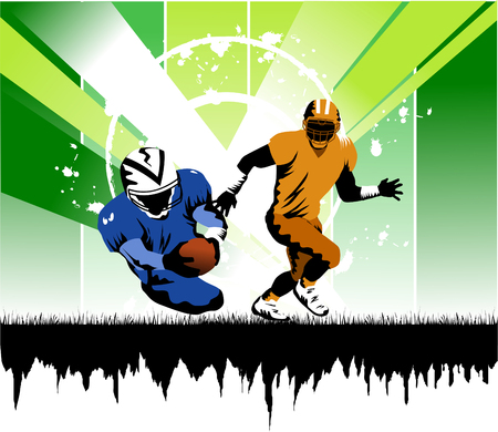 football player running with the ball in his hands to the gate of rival;  Vector
