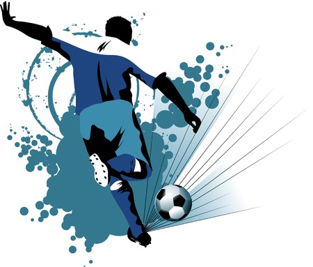 football player attack gate of the opponent (illustration),