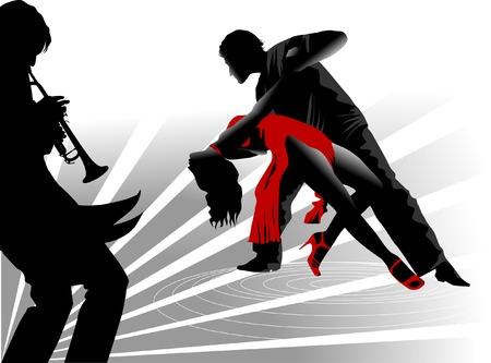 jazz club: homme et la femme de danse un tango. illustration,