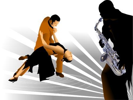 latin american boys: man and the woman dance a tango.  illustration,  Illustration