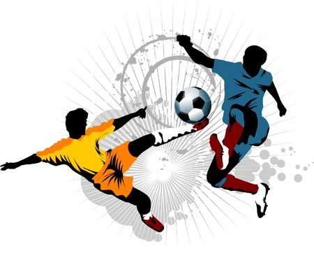 goal keeper: voet bal speler aanval gate van de tegenstander;  Stock Illustratie