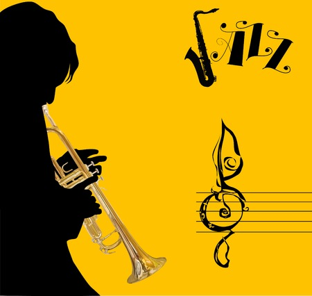 sax: Trumpet gold - on a bright background red and black colors;