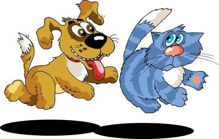 piebald: El perro persiguiendo a un gato con rayas  Vectores
