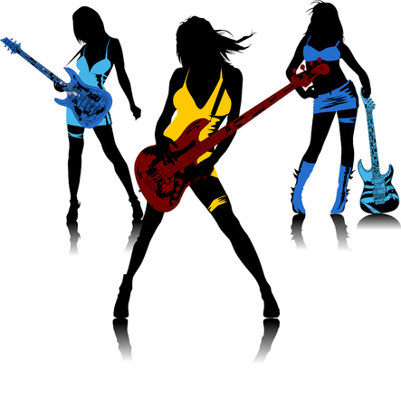 pop musician: Three girls with guitars sing a song standing on the stage;
