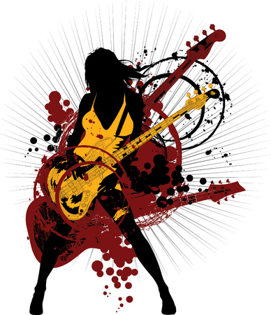 entertainment graphics: guitar red - on a bright background blue and black colors;