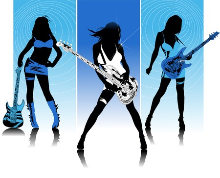 Three girls with guitars sing a song standing on the stage; Stock Vector - 7143309