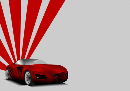 car tuning: red sports car on a gray background