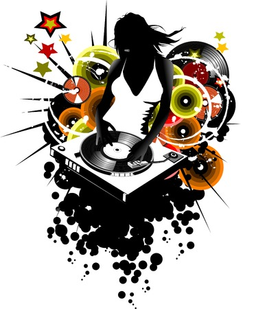 girl DJ spins vinyl disc on the music player;  Vector