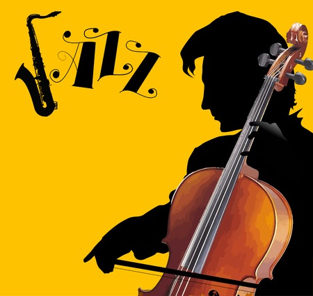 violoncello: Man playing the cello on a yellow background;