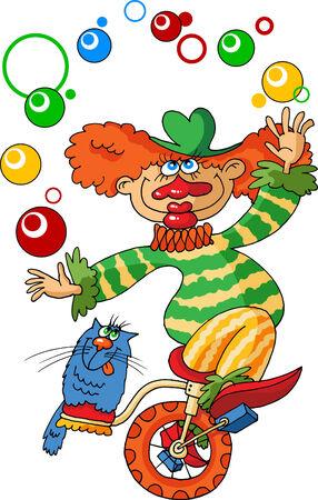 gay clown rides a bicycle and juggling balls;  Stock Vector - 7225493