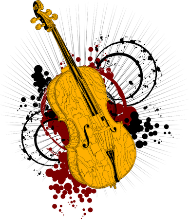 contrabass: Golden cello on a colored background (vector illustration);