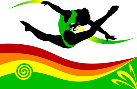 gymnast performs a complicated jump on the background of the rainbow;  Vector