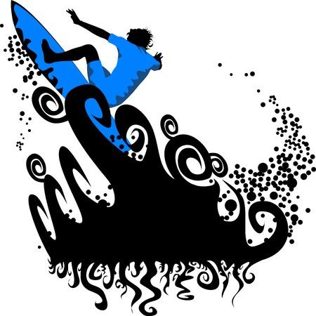 El hombre en el tablero supera la marea alta;  Ilustración de vector