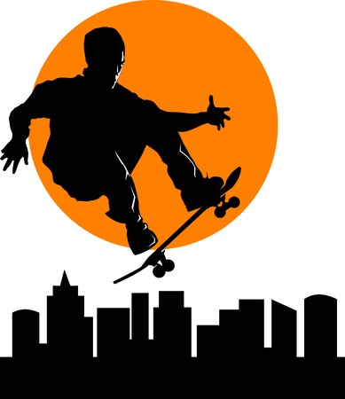 half body: Teen makes a jump on a skateboard on the background of the cityscape;