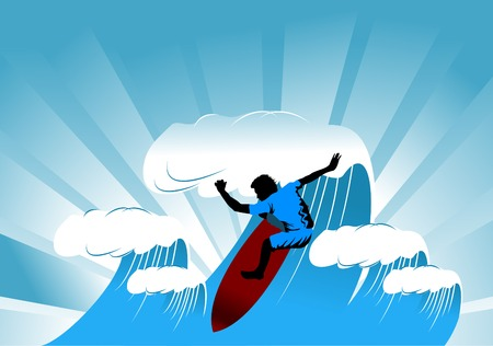 swell: The man on the board overcomes the high tide;