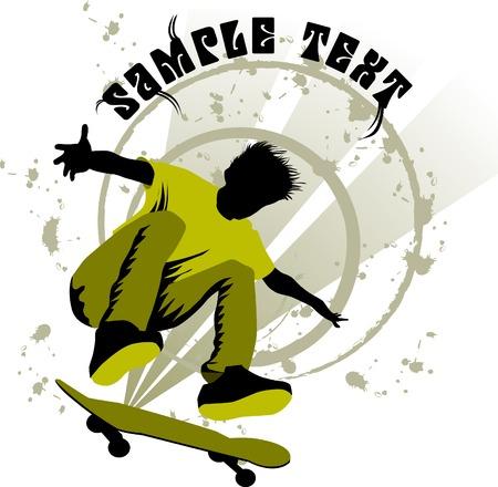 Adolescente hace un salto en una patineta en el fondo del paisaje urbano;  Ilustración de vector