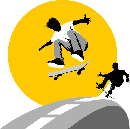Teen makes a jump on a skateboard on the background of the moon;