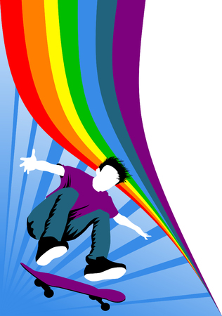 Teen makes a jump on a skateboard on the background of the rainbow;  Vector