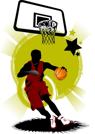 player in basketball at the background of basketball rings Stock Vector - 7420707