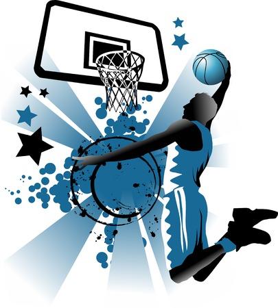 panier basketball: joueur de basket-ball � l'arri�re-plan des anneaux de basket