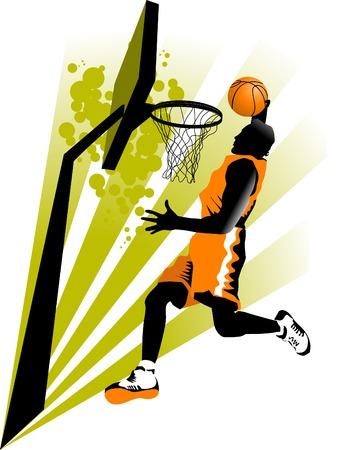 pelota de basquet: jugador de baloncesto en el fondo de aros de baloncesto