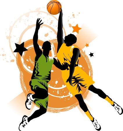 バスケット ボールのリングの背景でバスケット ボール選手  イラスト・ベクター素材