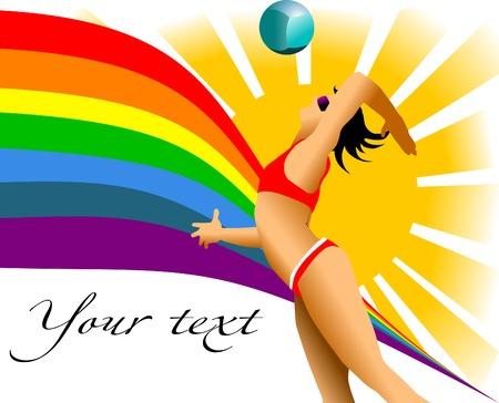 pelota de voley: chica jugando voleibol de playa en el sol y el arco iris;  Vectores