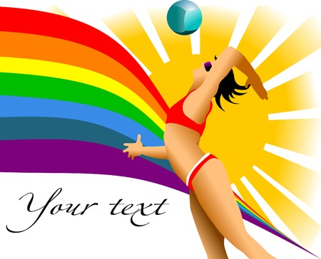 volleyball: girl playing beach volleyball in the sun and the rainbow;