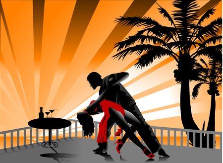 サルサ: 男と女をタンゴダンスします。