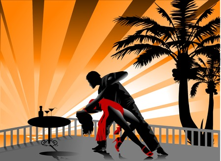 The man and the woman dance a tango. Stock Vector - 7471201