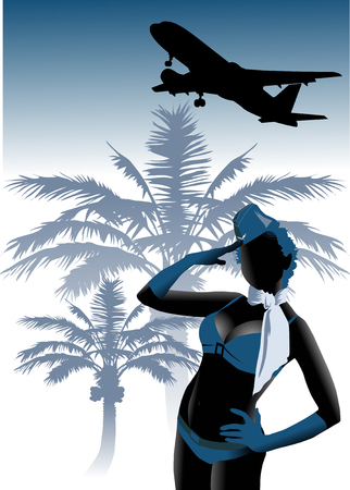 palm pilot: stewardess in a bathing suit invites to travel