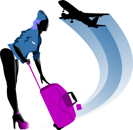 stewardess in a bathing suit invites to travel  Stock Vector - 7471196