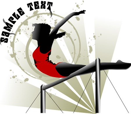 gymnastics girl: Gymnast in the form of red performs an exercise on the bar;